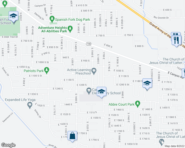 map of restaurants, bars, coffee shops, grocery stores, and more near 1132 South 1560 East in Spanish Fork