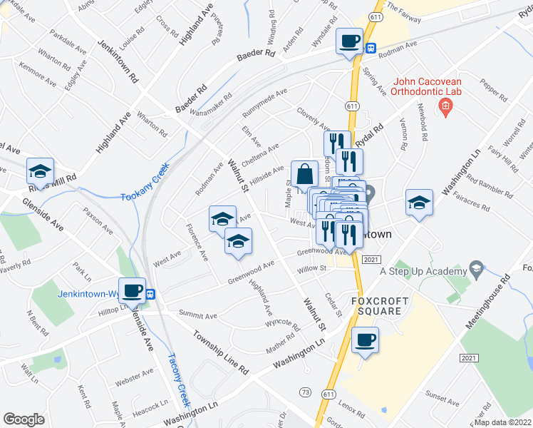 map of restaurants, bars, coffee shops, grocery stores, and more near West Ave & Linden St in Jenkintown