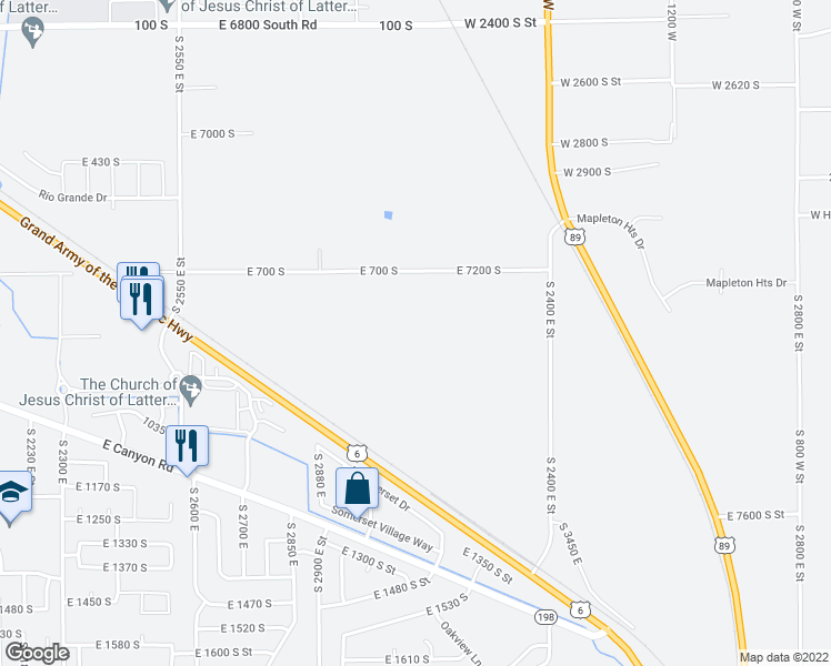 map of restaurants, bars, coffee shops, grocery stores, and more near 2172 East 7200 South in Spanish Fork