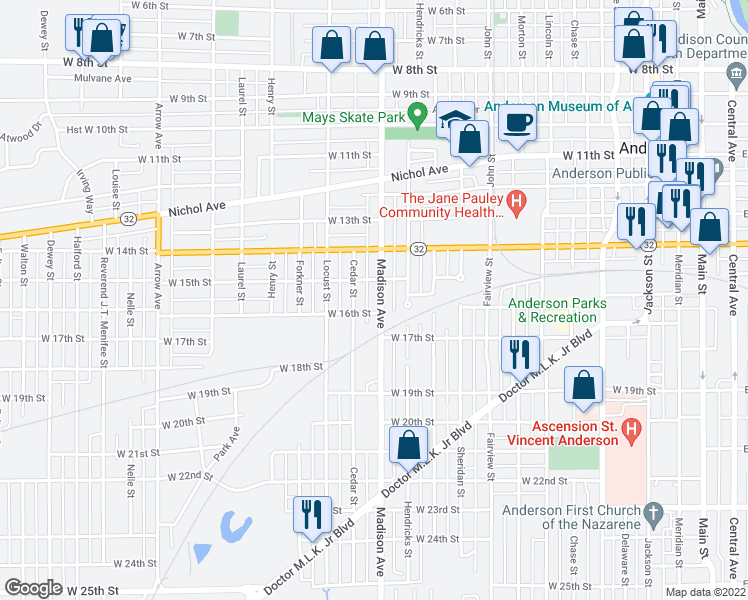 map of restaurants, bars, coffee shops, grocery stores, and more near 1525 Madison Avenue in Anderson