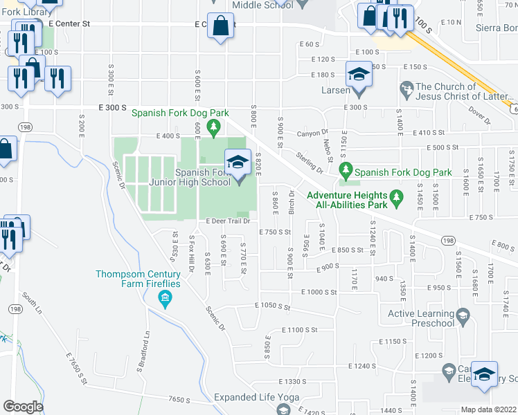 map of restaurants, bars, coffee shops, grocery stores, and more near 600-698 South 820 East in Spanish Fork
