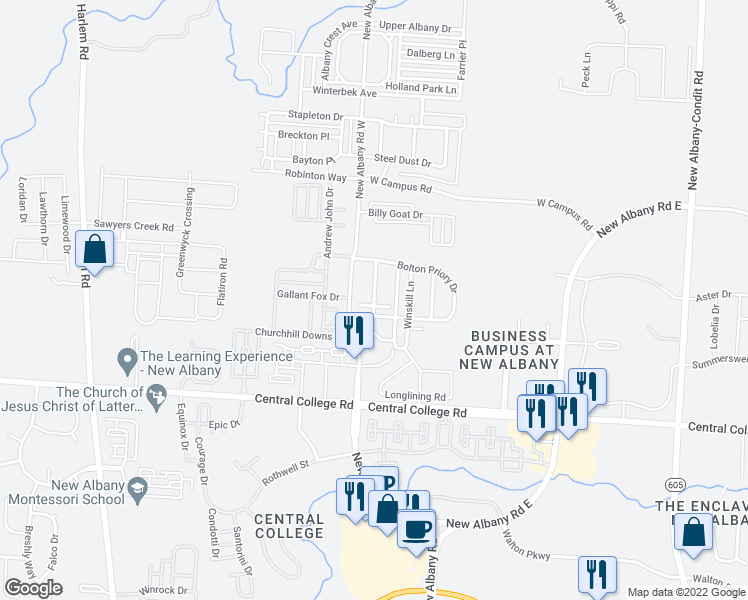 map of restaurants, bars, coffee shops, grocery stores, and more near 5704 New Albany Road West in New Albany