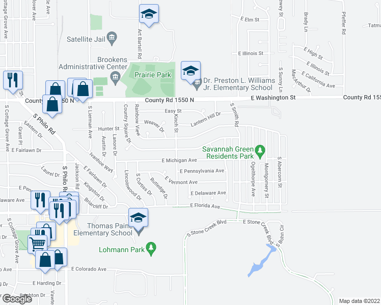 map of restaurants, bars, coffee shops, grocery stores, and more near 2109 Country Squire Drive in Urbana