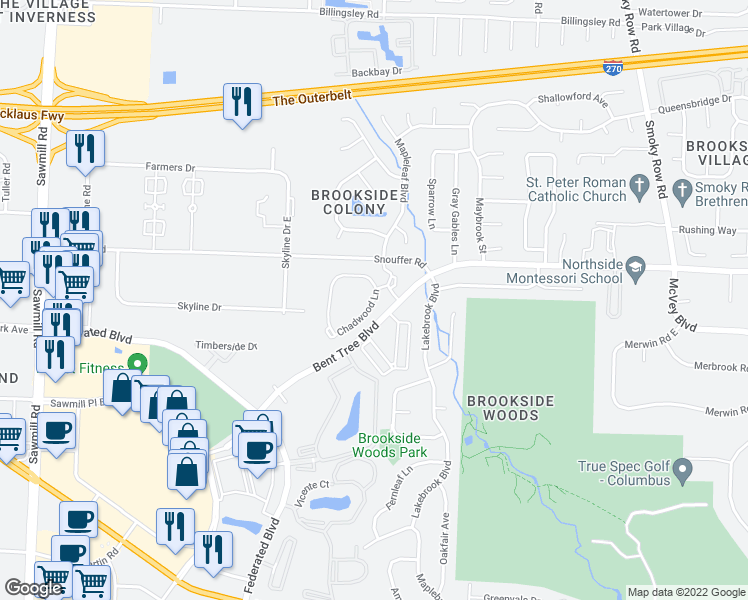 map of restaurants, bars, coffee shops, grocery stores, and more near Chadwood Lane in Columbus