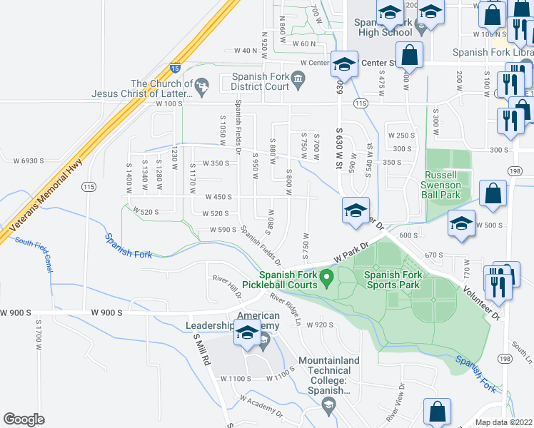 map of restaurants, bars, coffee shops, grocery stores, and more near 951 530 South in Spanish Fork