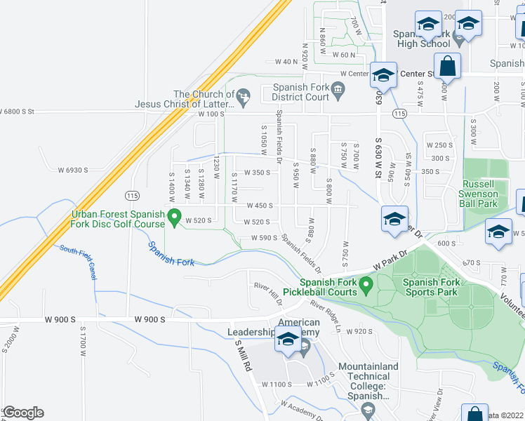 map of restaurants, bars, coffee shops, grocery stores, and more near 1006 West 450 South in Spanish Fork