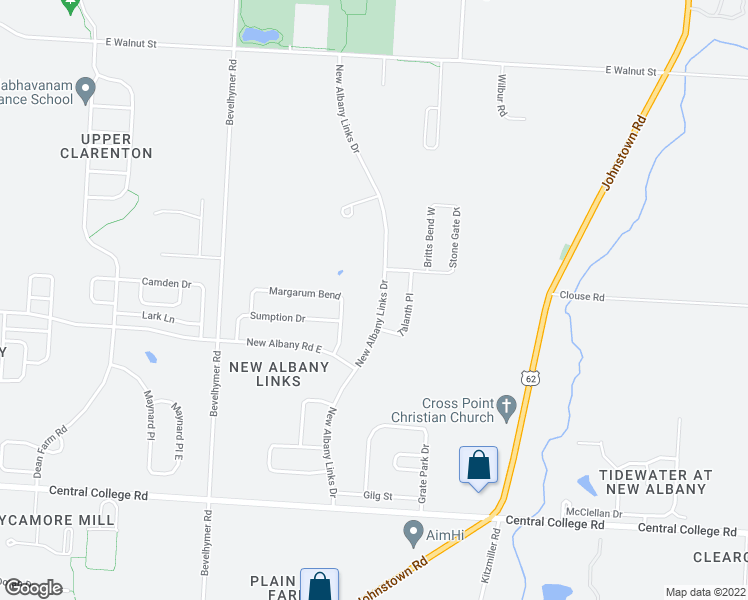 map of restaurants, bars, coffee shops, grocery stores, and more near 7227 New Albany Links Drive in New Albany