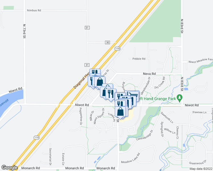 map of restaurants, bars, coffee shops, grocery stores, and more near in Niwot