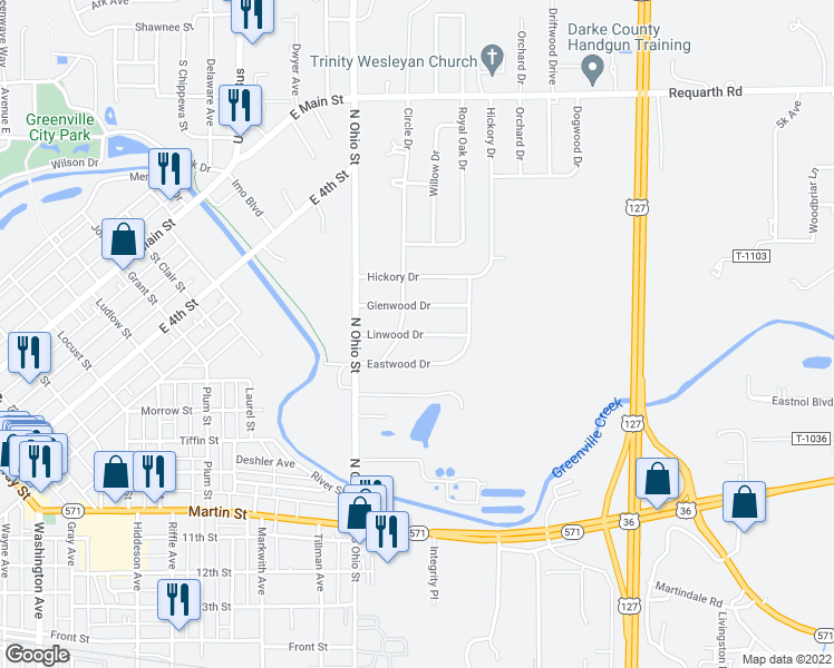 map of restaurants, bars, coffee shops, grocery stores, and more near Linwood Drive in Greenville