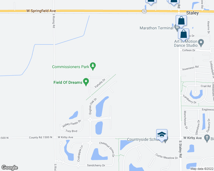 map of restaurants, bars, coffee shops, grocery stores, and more near 1113 English Oak Drive in Champaign