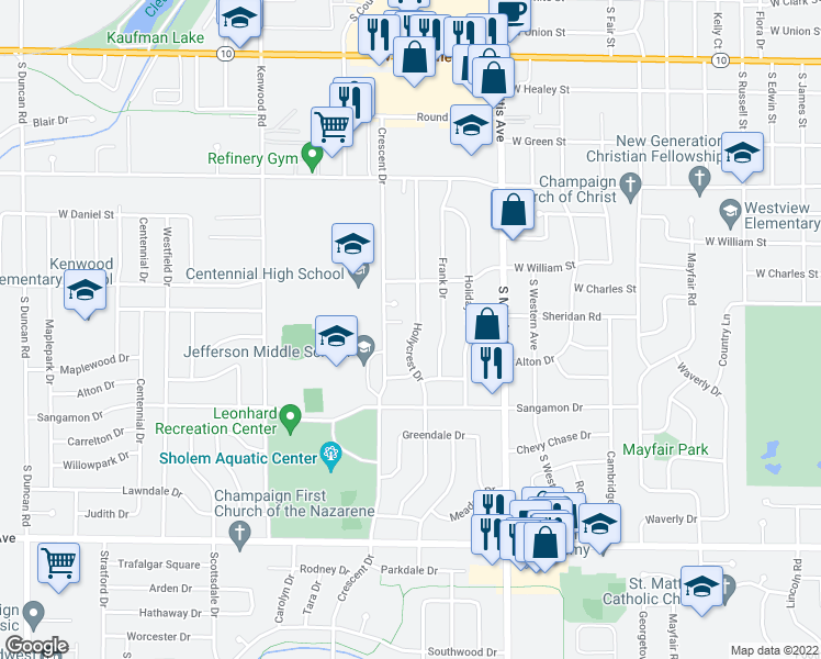 map of restaurants, bars, coffee shops, grocery stores, and more near 1013 Hollycrest Drive in Champaign
