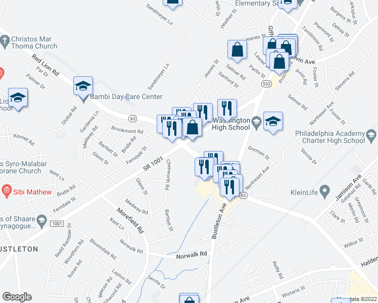 map of restaurants, bars, coffee shops, grocery stores, and more near 1107 Chesworth Road in Philadelphia