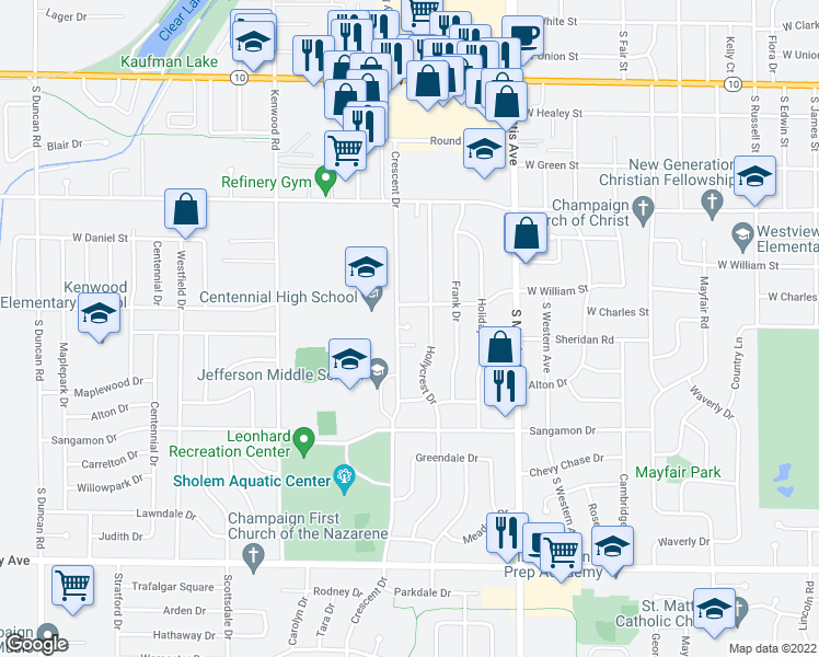 map of restaurants, bars, coffee shops, grocery stores, and more near 1008 Crescent Drive in Champaign
