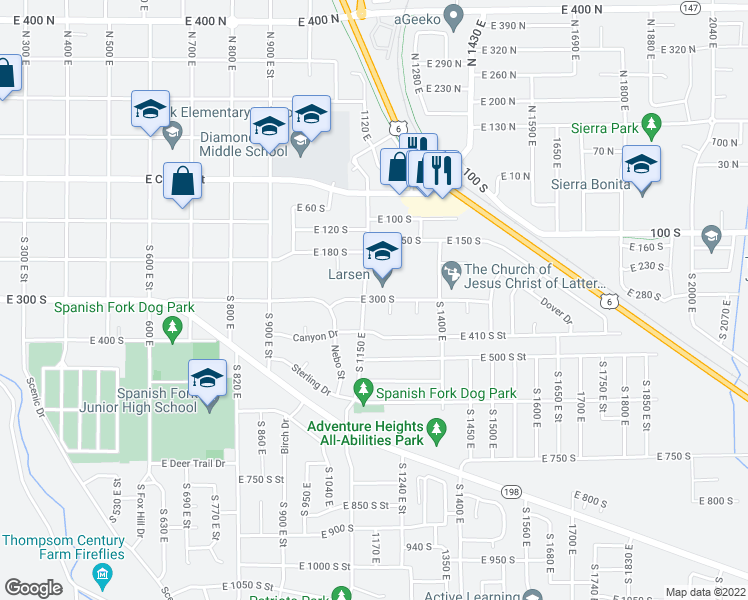 map of restaurants, bars, coffee shops, grocery stores, and more near 1180 East 300 South in Provo