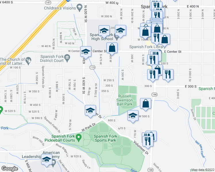 map of restaurants, bars, coffee shops, grocery stores, and more near 398 350 South in Spanish Fork