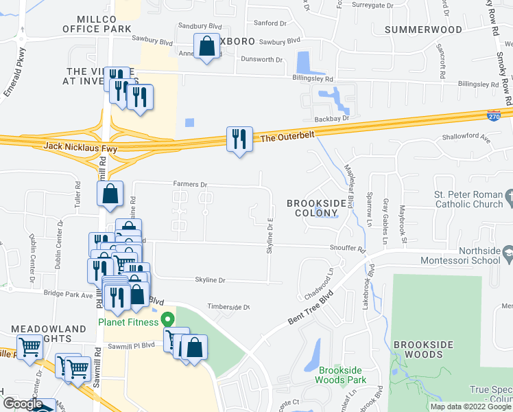 map of restaurants, bars, coffee shops, grocery stores, and more near 7331 Skyline Drive East in Columbus