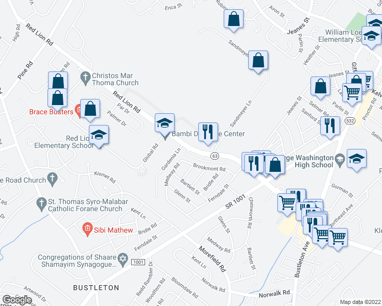 map of restaurants, bars, coffee shops, grocery stores, and more near 600 Red Lion Road in Philadelphia