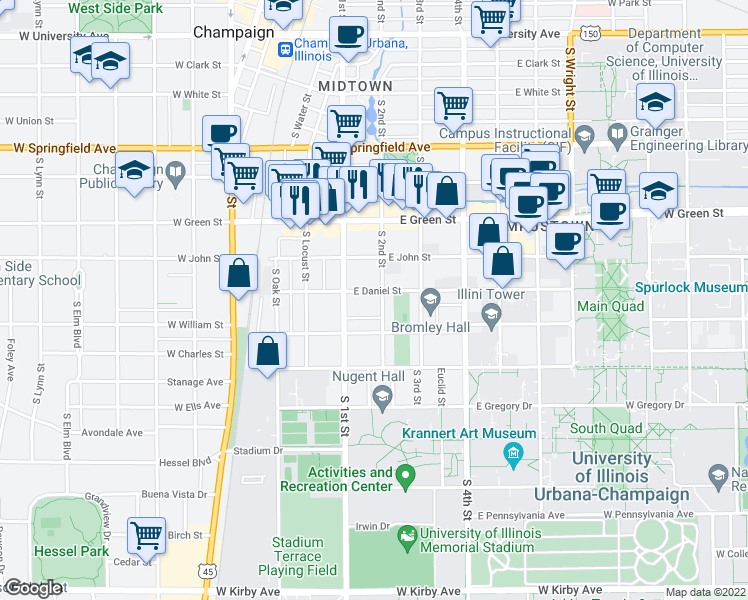 map of restaurants, bars, coffee shops, grocery stores, and more near 901 South 2nd Street in Champaign