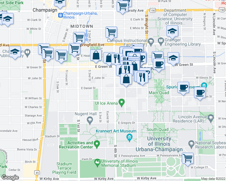 map of restaurants, bars, coffee shops, grocery stores, and more near 901 South 4th Street in Champaign