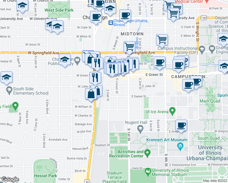 map of restaurants, bars, coffee shops, grocery stores, and more near 807 South Locust Street in Champaign