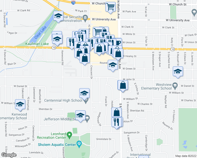 map of restaurants, bars, coffee shops, grocery stores, and more near 701 Hollycrest Drive in Champaign
