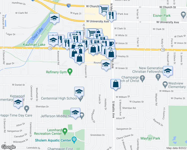 map of restaurants, bars, coffee shops, grocery stores, and more near 2000 West John Street in Champaign