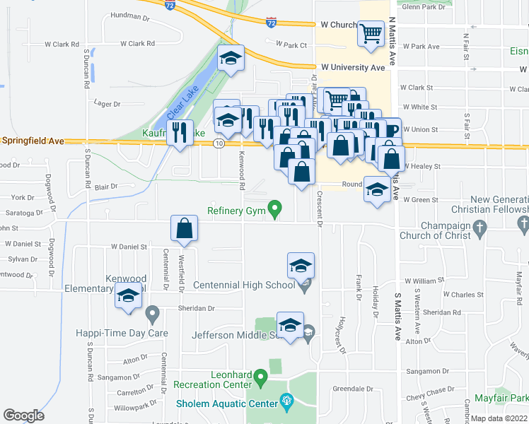 map of restaurants, bars, coffee shops, grocery stores, and more near 2326 West John Street in Champaign