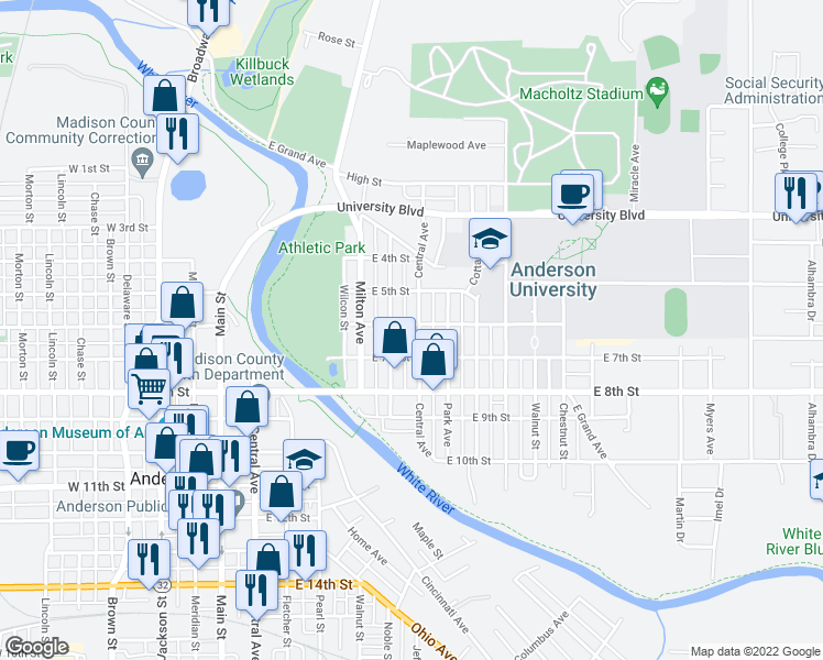 map of restaurants, bars, coffee shops, grocery stores, and more near 603 Central Avenue in Anderson