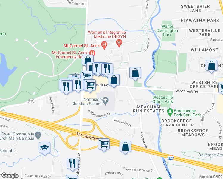 map of restaurants, bars, coffee shops, grocery stores, and more near 555 West Schrock Road in Westerville