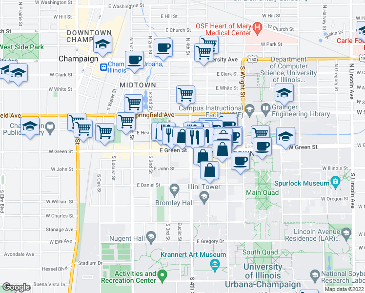 map of restaurants, bars, coffee shops, grocery stores, and more near 308 East Green Street in Champaign