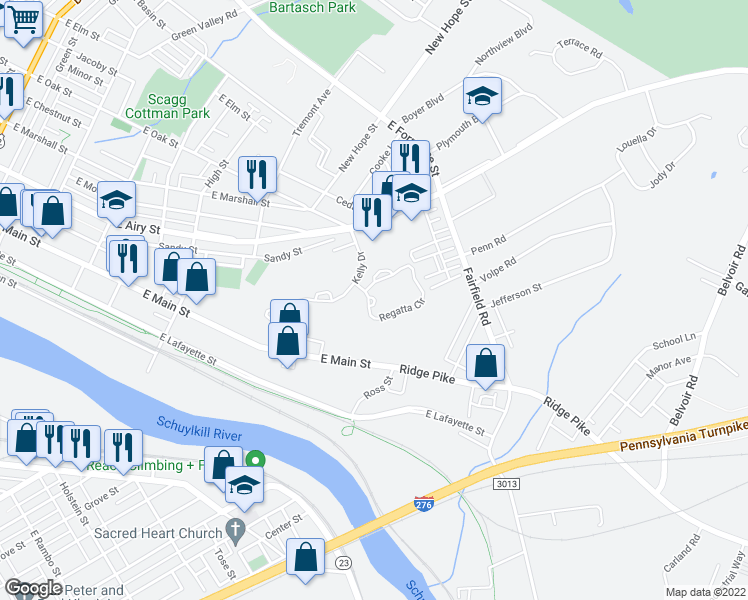 map of restaurants, bars, coffee shops, grocery stores, and more near Regatta Circle in Norristown