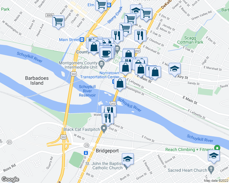 map of restaurants, bars, coffee shops, grocery stores, and more near 1 DeKalb Street in Norristown