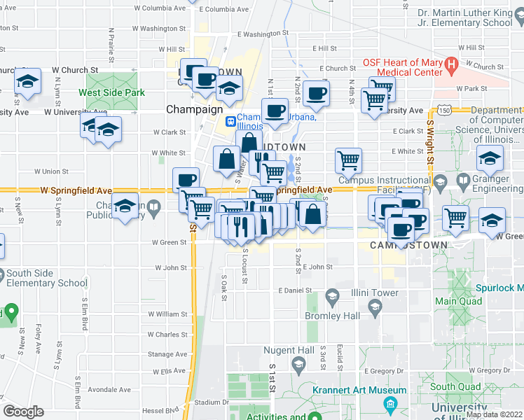 map of restaurants, bars, coffee shops, grocery stores, and more near 58 East Healey Street in Champaign