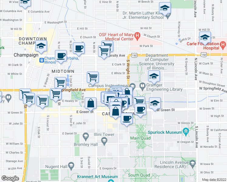 map of restaurants, bars, coffee shops, grocery stores, and more near 501 South 6th Street in Champaign