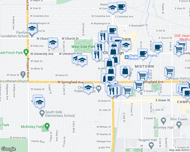 map of restaurants, bars, coffee shops, grocery stores, and more near 312 South State Street in Champaign
