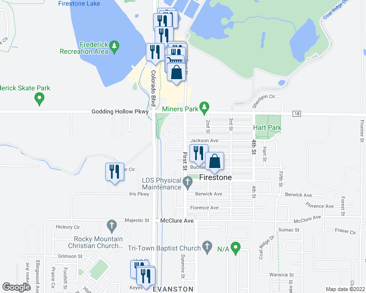 map of restaurants, bars, coffee shops, grocery stores, and more near 101 Jackson Drive in Firestone