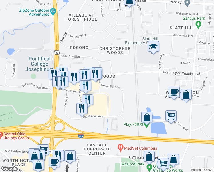 map of restaurants, bars, coffee shops, grocery stores, and more near 7600 Huntington Park Drive in Columbus
