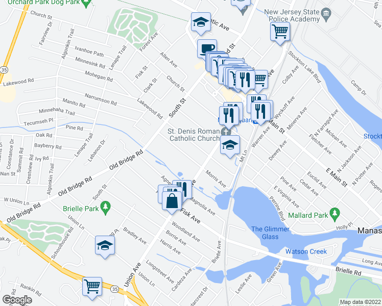 map of restaurants, bars, coffee shops, grocery stores, and more near 74 Morris Avenue in Manasquan
