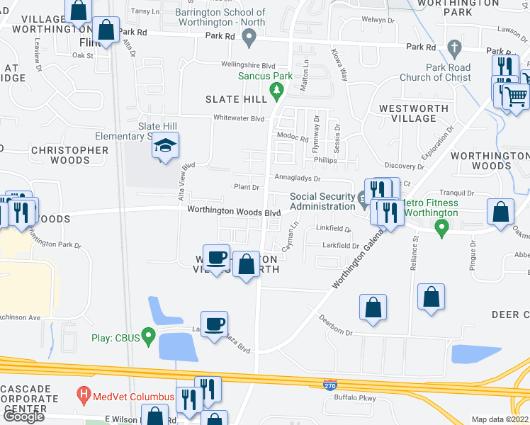 map of restaurants, bars, coffee shops, grocery stores, and more near Sancus Boulevard & Worthington Woods Boulevard in Columbus
