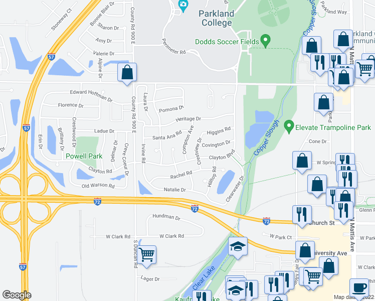 map of restaurants, bars, coffee shops, grocery stores, and more near 606 Compton Avenue in Champaign