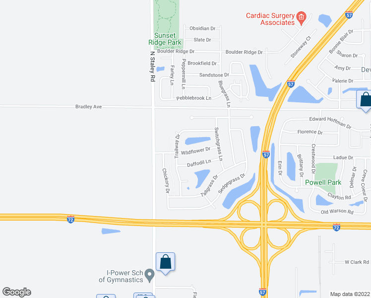 map of restaurants, bars, coffee shops, grocery stores, and more near 3922 Wildflower Drive in Champaign