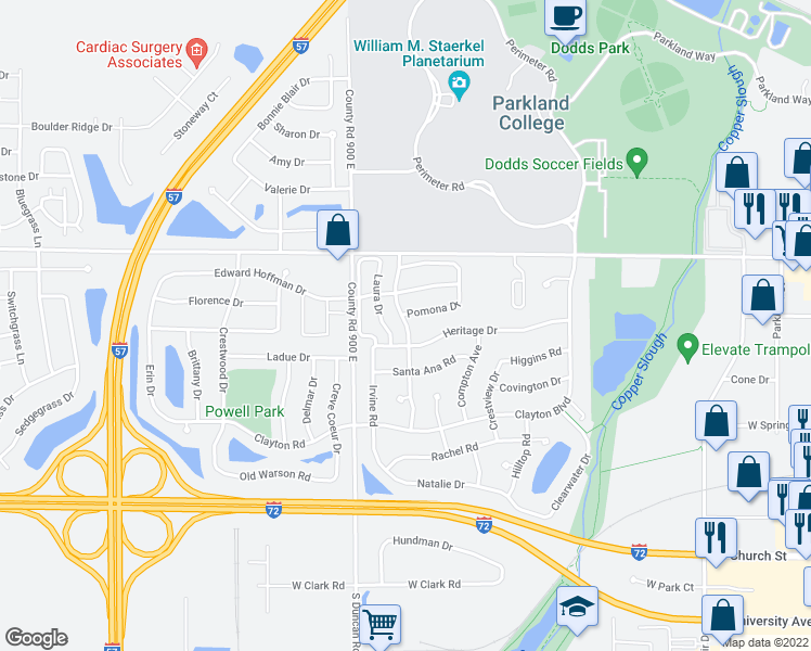 map of restaurants, bars, coffee shops, grocery stores, and more near 910 Pomona Drive in Champaign