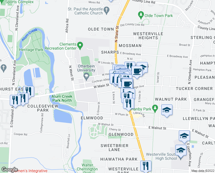 map of restaurants, bars, coffee shops, grocery stores, and more near 61 West Main Street in Westerville