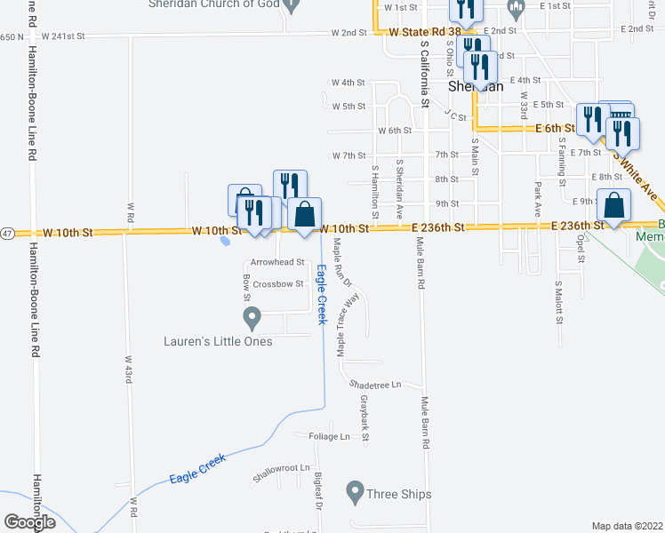 map of restaurants, bars, coffee shops, grocery stores, and more near 1102 Maple Run Drive in Sheridan