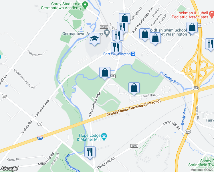 map of restaurants, bars, coffee shops, grocery stores, and more near 491 South Bethlehem Pike in Fort Washington