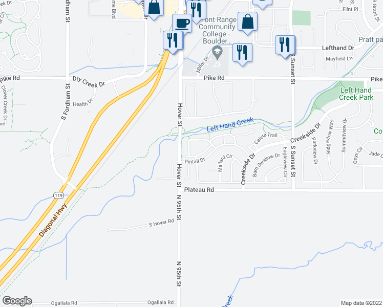 map of restaurants, bars, coffee shops, grocery stores, and more near 2276 Watersong Circle in Longmont