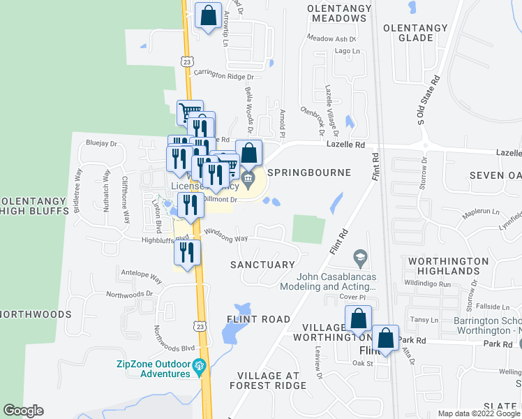 map of restaurants, bars, coffee shops, grocery stores, and more near 143 Sanctuary Village Drive in Columbus