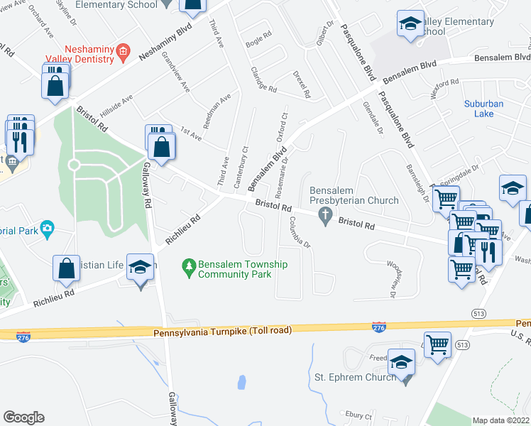 map of restaurants, bars, coffee shops, grocery stores, and more near 226 Saddlebrook Drive in Bensalem