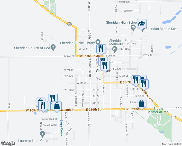 map of restaurants, bars, coffee shops, grocery stores, and more near 403 South California Street in Sheridan