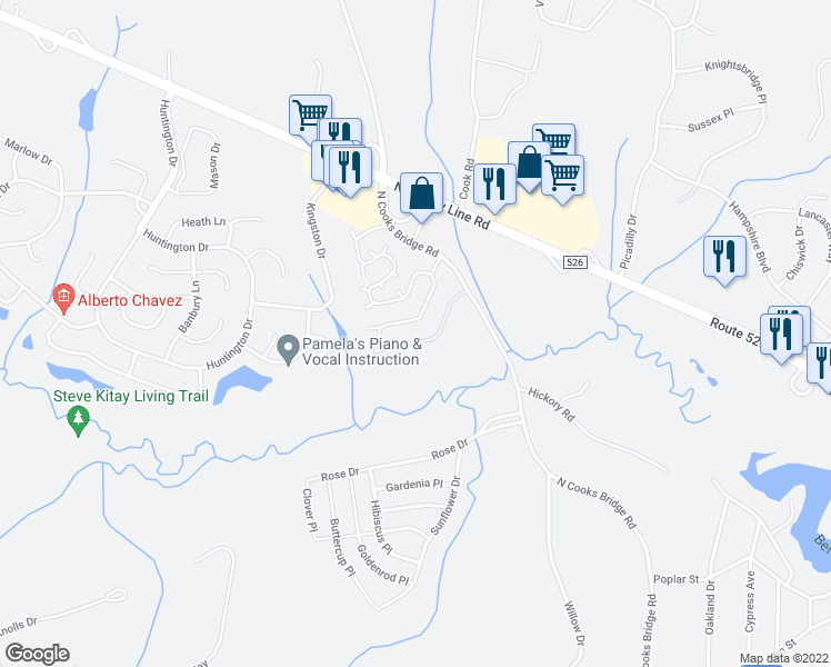 map of restaurants, bars, coffee shops, grocery stores, and more near 44 Brookfield Drive in Jackson Township
